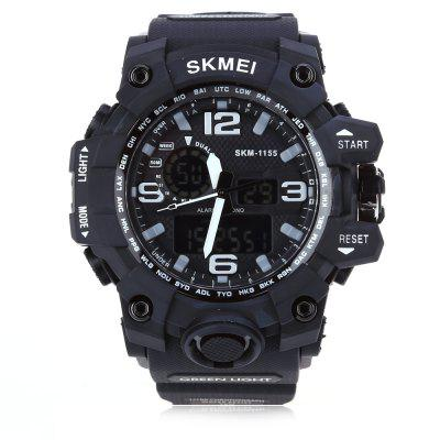SKMEI 1155 Men LED Digital Quartz WatchMens Watches<br>SKMEI 1155 Men LED Digital Quartz Watch<br><br>Band Length: 8.27<br>Band Length Unit: inch<br>Band Material Type: PU<br>Band Width: 25mm<br>Case material: PC<br>Case Shape: Round<br>Clasp type: Pin buckle<br>Dial Diameter: 1.77<br>Dial Diameter Unit: inch<br>Dial Display: Analog-Digital<br>Dial Window Material Type: Glass<br>Feature: Led Display, Day, Alarm<br>Gender: Men<br>Movement: Digital,Quartz<br>Package Contents: 1 x SKMEI 1155 Men LED Digital Quartz Watch<br>Package Size(L x W x H): 26.00 x 6.50 x 2.50 cm / 10.24 x 2.56 x 0.98 inches<br>Package weight: 0.096 kg<br>Product Size(L x W x H): 25.00 x 5.50 x 1.50 cm / 9.84 x 2.17 x 0.59 inches<br>Product weight: 0.075 kg<br>Style: Simple<br>Water Resistance Depth: 50m