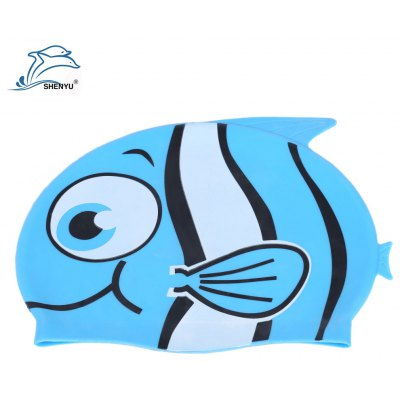 Shenyu Cute Children Cartoon Fish Shark Swimming Silicone Cap