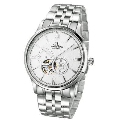 LOTUSMAN DM502SWA Men Automatic Mechanical WatchMens Watches<br>LOTUSMAN DM502SWA Men Automatic Mechanical Watch<br><br>Band Length: 8.27 inch<br>Band Material Type: Stainless Steel<br>Band Width: 20 mm<br>Case material: Stainless Steel<br>Case Shape: Round<br>Clasp type: Butterfly Clasp<br>Dial Diameter: 1.57 inch<br>Dial Display: Analog<br>Dial Window Material Type: Sapphire<br>Feature: Luminous<br>Gender: Men<br>Movement: Automatic Self-Wind<br>Package Contents: 1 x LOTUSMAN DM502SWA Male Automatic Mechanical Watch<br>Package Size(L x W x H): 12.00 x 12.00 x 10.00 cm / 4.72 x 4.72 x 3.94 inches<br>Package weight: 0.5230 kg<br>Product Size(L x W x H): 21.00 x 4.50 x 1.00 cm / 8.27 x 1.77 x 0.39 inches<br>Product weight: 0.1300 kg<br>Style: Business<br>Water Resistance Depth: 50m