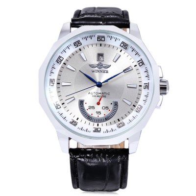 WINNER F1205292 Men Auto Mechanical WatchMens Watches<br>WINNER F1205292 Men Auto Mechanical Watch<br><br>Band Length: 8.13 inch<br>Band Material Type: Leather<br>Band Width: 18mm<br>Case material: Alloy<br>Case Shape: Irregular Shape<br>Clasp type: Pin Buckle<br>Dial Diameter: 1.84 inch<br>Dial Display: Analog<br>Dial Window Material Type: Hardlex<br>Feature: Date<br>Gender: Men<br>Movement: Automatic Self-Wind<br>Package Contents: 1 x WINNER F1205292 Men Auto Mechanical Watch, 1 x Box<br>Package Size(L x W x H): 8.50 x 8.00 x 5.50 cm / 3.35 x 3.15 x 2.17 inches<br>Package weight: 0.127 kg<br>Product Size(L x W x H): 25.50 x 4.80 x 1.30 cm / 10.04 x 1.89 x 0.51 inches<br>Product weight: 0.069 kg<br>Style: Business