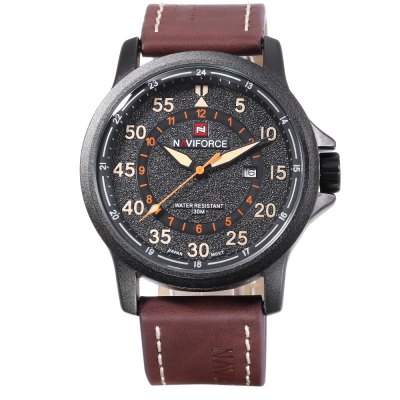 Naviforce 9076 Men Quartz WatchMens Watches<br>Naviforce 9076 Men Quartz Watch<br><br>Band Length: 8.46 inch<br>Band Material Type: Leather<br>Band Width: 24mm<br>Case material: Alloy<br>Case Shape: Round<br>Clasp type: Pin Buckle<br>Dial Diameter: 1.81 inch<br>Dial Display: Analog<br>Dial Window Material Type: Mineral Glass Mirror<br>Feature: Date<br>Gender: Men<br>Movement: Quartz<br>Package Contents: 1 x Naviforce 9076 Men Quartz Watch<br>Package Size(L x W x H): 15.50 x 8.00 x 4.50 cm / 6.1 x 3.15 x 1.77 inches<br>Package weight: 0.1120 kg<br>Product Size(L x W x H): 27.00 x 5.00 x 1.50 cm / 10.63 x 1.97 x 0.59 inches<br>Product weight: 0.0830 kg<br>Style: Simple<br>Water Resistance Depth: 30m