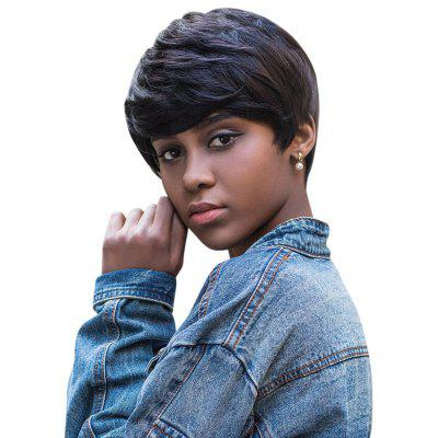 AISIHAIR Women Short Natural Straight Pixie Cutting Black Wigs