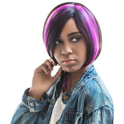 AISIHAIR Short Straight Side Bangs Highlights Black Purple Wig