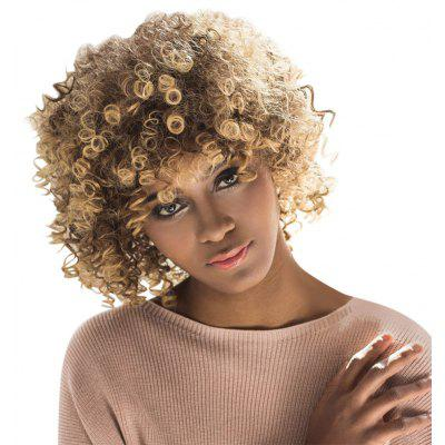 AISIHAIR Short Afro Curly Mixed Color Side Bang Synthetic Hair Wigs