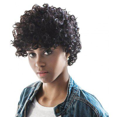 AISIHAIR Kinky Cute Short Natural Curly Black Wigs