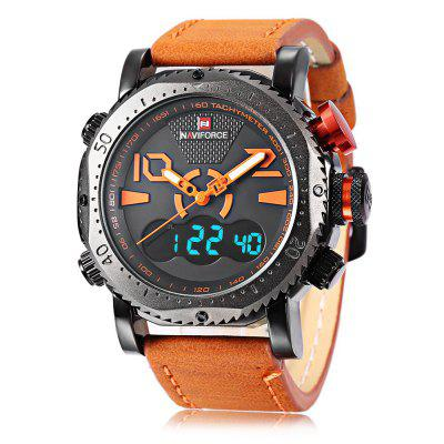Naviforce NF9094M Male Dual Movt WatchMens Watches<br>Naviforce NF9094M Male Dual Movt Watch<br><br>Band Length: 8.66 inch<br>Band Material Type: Leather<br>Band Width: 24mm<br>Case material: Alloy<br>Case Shape: Round<br>Clasp type: Pin Buckle<br>Dial Diameter: 1.77 inch<br>Dial Display: Analog-Digital<br>Dial Window Material Type: Hardlex<br>Feature: Luminous, Led Display, Day, Date, Chronograph, Alarm<br>Gender: Men<br>Movement: Digital,Quartz<br>Package Contents: 1 x Watch<br>Package Size(L x W x H): 28.00 x 6.50 x 2.50 cm / 11.02 x 2.56 x 0.98 inches<br>Package weight: 0.1400 kg<br>Product Size(L x W x H): 27.00 x 5.50 x 1.50 cm / 10.63 x 2.17 x 0.59 inches<br>Product weight: 0.1190 kg<br>Style: Business<br>Water Resistance Depth: 30m