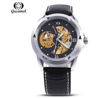 Buy Gucamel G013 Male Auto Mechanical Watch, BLACK LEATHER BAND+GOLD DISPLAY+BLACK DIAL, Watches & Jewelry, Men's Watches for $25.44 in GearBest store