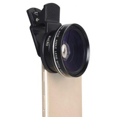 APEXEL APL - 0.45WM 0.45X Wide Angle + 12.5X Macro Lens 2 in 1 External Mobile Phone Camera with Universal Clip