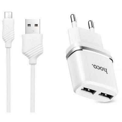 HOCO Dual USB 2.4A Charger with Micro USB Cable 1M Set