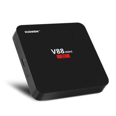 SCISHION V88 Mini III TV BoxTV Box<br>SCISHION V88 Mini III TV Box<br><br>5G WiFi: No<br>Audio format: OGG, MP3, FLAC, AAC, RM, WMA<br>Bluetooth: Unsupport<br>Brand: SCISHION<br>Core: 1.5GHz<br>CPU: RK3328<br>Decoder Format: HD MPEG1/2/4, H.264, H.265<br>GPU: Mali-450MP2<br>HDMI Version: 2.0<br>Interface: USB3.0, USB2.0, AV, DC 5V, Ethernet, HDMI, TF card, SPDIF<br>Max. Extended Capacity: TF card up to 32GB (not included)<br>Model: V88 Mini III<br>Package Contents: 1 x TV Box, 1 x HDMI Cable, 1 x Remote Controller, 1 x Charger, 1 x English User Manual<br>Package size (L x W x H): 17.50 x 13.50 x 6.40 cm / 6.89 x 5.31 x 2.52 inches<br>Package weight: 0.3620 kg<br>Photo Format: JPEG, JPG, PNG<br>Power Adapter Output: 5V 2A<br>Power Supply: Charge Adapter<br>Power Type: External Power Adapter Mode<br>Product size (L x W x H): 10.00 x 10.00 x 1.70 cm / 3.94 x 3.94 x 0.67 inches<br>Product weight: 0.0950 kg<br>RAM: 2G<br>RAM Type: DDR3<br>Remote Controller Battery: 2 x 1.5V AAA battery ( not included )<br>RJ45 Port Speed: 10 / 100Mbps<br>ROM: 8G<br>System: Android 7.1<br>System Bit: 64Bit<br>Type: TV Box<br>Video format: MPEG4, VC-1, MPEG2, 4K, VP8, MPEG1, H.265, H.264, VP9<br>WIFI: 802.11b/g/n