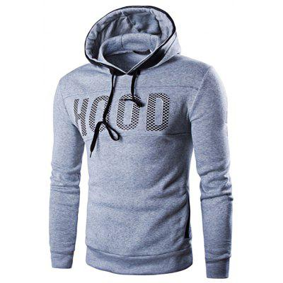 Casual Letter Print Men Pullover Hoodie with Velour