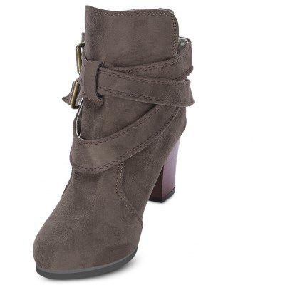 Trendy Solid Color Pointed Thick Kitten Heel Ankle Martin Boots