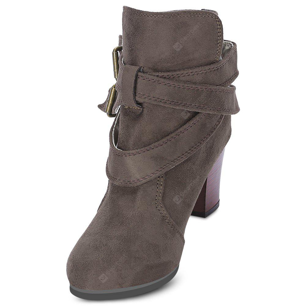 GRAY 38 Trendy Solid Color Pointed Thick Kitten Heel Ankle Martin Boots