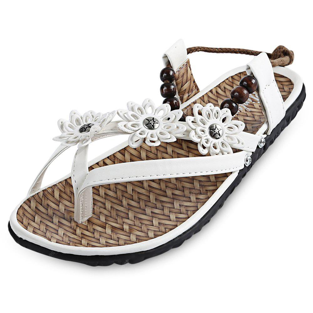 Floral Beaded Embellishment Ankle Wrap Flip-flop Sandals for Women