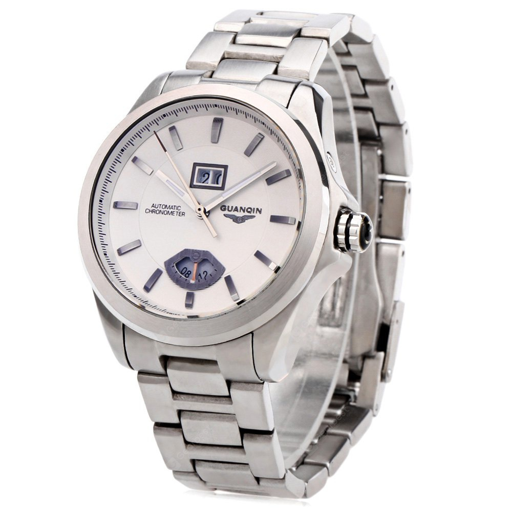 GUANQIN GJ16026 Men Auto Mechanical Watch STEEL BAND+WHITE DIAL