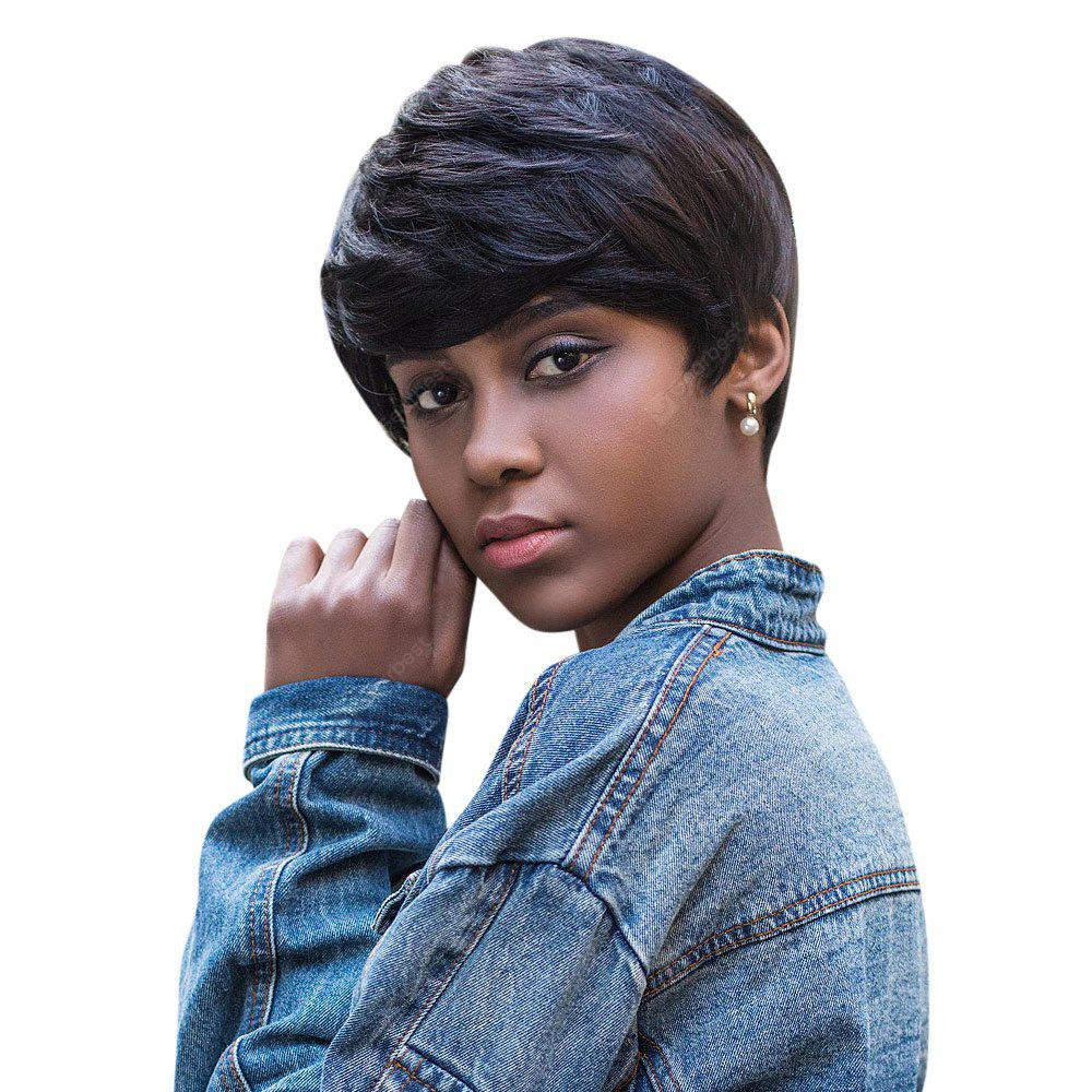AISIHAIR Short Natural Straight Pixie Cutting Black Wigs