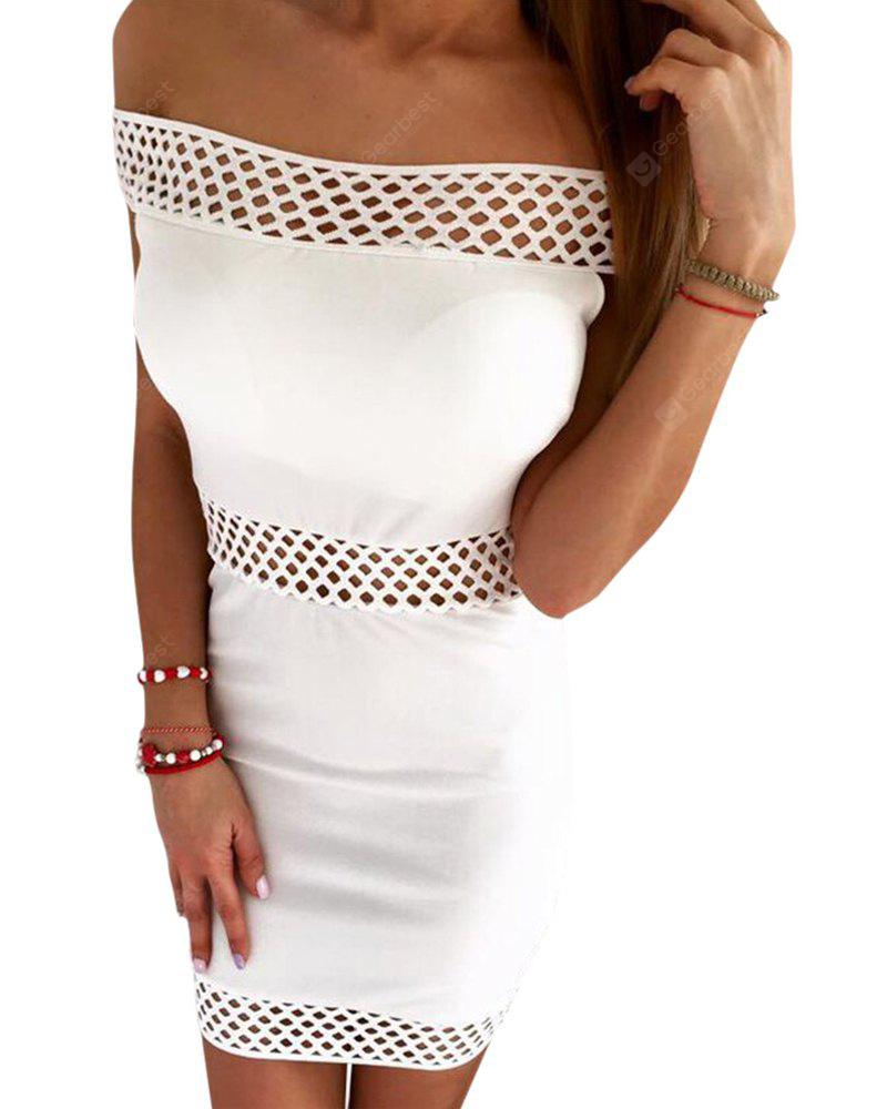 Sexy Out The Shoulder Hollow Out Women Mini Dress