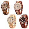 BEWELL ZS-100BG Metal Case Wooden Men Quartz Watch - ZEBRA WOOD