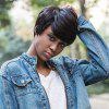 AISIHAIR Short Natural Straight Pixie Cutting Black Wigs - NOIR