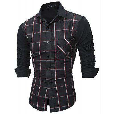 Casual Long Sleeve Turn-down Collar Slim Fit Clothing Plaid Patchwork Button Men Dress Shirt