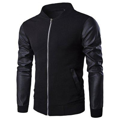Casual Long Sleeve Stand Collar Patchwork Men Jacket Coat