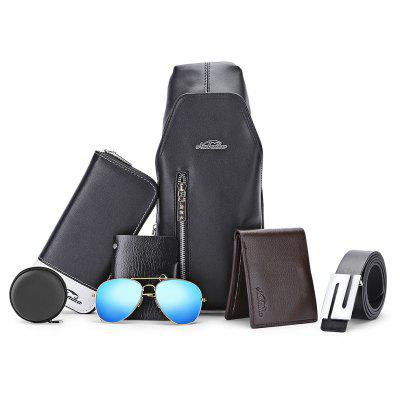 Casual Men Set Chest Bag Wallet Card Holder Leather Belt Sunglasses Earphone Container
