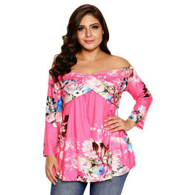 Off The Shoulder 3/4 Sleeve Floral Print Women Blouse