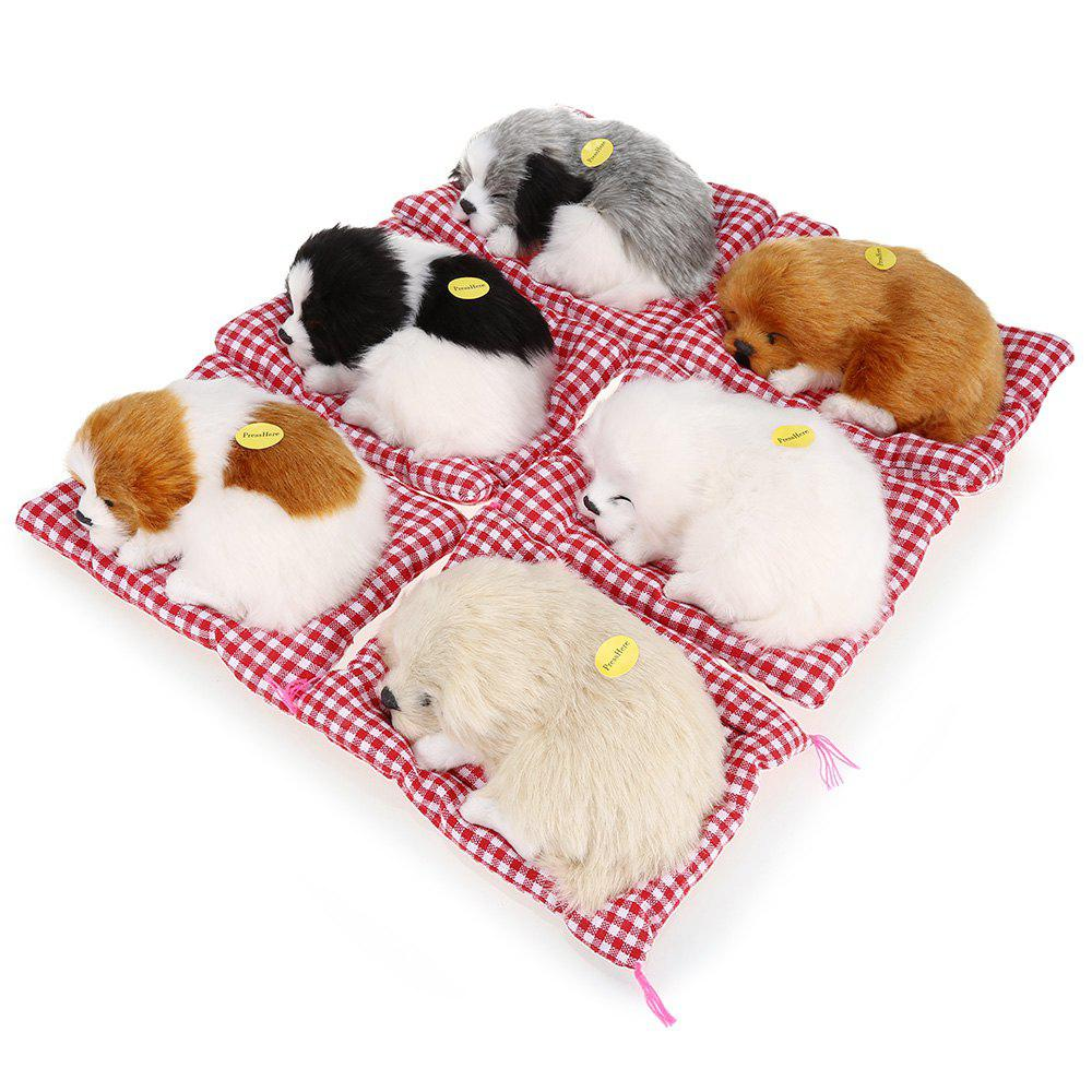 Simulation Sleeping Dog Toy with Cloth Pad WHITE AND BLACK