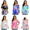 Off The Shoulder 3/4 Sleeve Floral Print Women Blouse - BLUE
