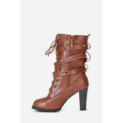 Trendy Solid Color Side ZippLace-up High-heeled Half