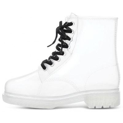 Stylish Women Lace-up Skid-resistance Martin Rain BootsWomens Boots<br>Stylish Women Lace-up Skid-resistance Martin Rain Boots<br><br>Boot Height: Mid-Calf<br>Boot Type: Rainboots<br>Closure Type: Lace-Up<br>Gender: For Women<br>Heel Height Range: Med(1.75-2.75)<br>Heel Type: Flat Heel<br>Package Contents: 1 x Pair of Rain Boots<br>Pattern Type: Others<br>Season: Winter, Summer, Spring/Fall<br>Toe Shape: Round Toe<br>Upper Material: PVC<br>Weight: 1.4750kg