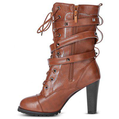 Fashion Rivet Side High Heel Half BootsWomens Boots<br>Fashion Rivet Side High Heel Half Boots<br><br>Boot Height: Mid-Calf<br>Boot Type: Fashion Boots<br>Closure Type: Lace-Up<br>Gender: For Women<br>Heel Height: 9.2cm<br>Heel Height Range: High(3-3.99)<br>Heel Type: Chunky Heel<br>Outsole Material: Rubber<br>Package Contents: 1 x Pair of Boots<br>Pattern Type: Others<br>Season: Winter<br>Shoe Width: Medium(B/M)<br>Toe Shape: Round Toe<br>Upper Material: PU<br>Weight: 1.1800kg