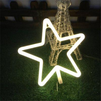 Buy WARM WHITE LIGHT LED Star Shape Neon Light Wall Lamp Holiday Decorations for $5.28 in GearBest store
