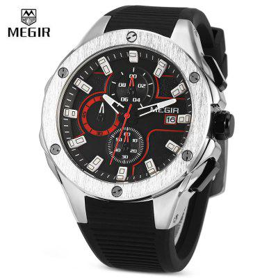 MEGIR MN2053 Men Quartz WatchMens Watches<br>MEGIR MN2053 Men Quartz Watch<br><br>Band Length: 7.87 inch<br>Band Material Type: Silicone<br>Band Width: 20mm<br>Brand: MEGIR<br>Case material: Alloy<br>Case Shape: Round<br>Case Thickness: 0.47 inch<br>Clasp type: Pin Buckle<br>Dial Diameter: 1.77 inch<br>Dial Display: Analog<br>Dial Window Material Type: Hardlex<br>Feature: Luminous, Date, Chronograph<br>Gender: Men<br>Movement: Quartz<br>Package Contents: 1 x Watch<br>Package Size(L x W x H): 12.00 x 7.50 x 6.00 cm / 4.72 x 2.95 x 2.36 inches<br>Package weight: 0.1960 kg<br>Product Size(L x W x H): 25.00 x 5.00 x 1.20 cm / 9.84 x 1.97 x 0.47 inches<br>Product weight: 0.1000 kg<br>Style: Business<br>Water Resistance Depth: 30m