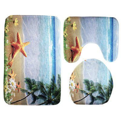 Buy Starfish Pattern 3pcs Toilet Mat Bath Mat BLACK AND BLUE YELLOW for $13.21 in GearBest store