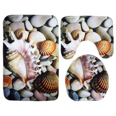 Starfish Pattern 3pcs Toilet Mat Bath Mat