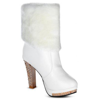 Women Winter Warm Fur Rhinestone Chunky High-heeled BootsWomens Boots<br>Women Winter Warm Fur Rhinestone Chunky High-heeled Boots<br><br>Boot Height: Mid-Calf<br>Boot Type: Fashion Boots<br>Closure Type: Slip-On<br>Embellishment: Chains<br>Gender: For Women<br>Heel Height: 10.5cm<br>Heel Height Range: High(3-3.99)<br>Heel Type: Chunky Heel<br>Lining Material: Cotton Fabric<br>Package Contents: 1 x Pair of Boots<br>Pattern Type: Leopard<br>Season: Winter<br>Shoe Width: Medium(B/M)<br>Toe Shape: Round Toe<br>Upper Material: PU<br>Weight: 1.2320kg