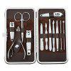 12 in 1 Professional Grooming Set with a Leather Storage Bag - SILVER