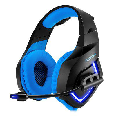 ONIKUMA K1 LED Light Gaming Headset with MicEarbud Headphones<br>ONIKUMA K1 LED Light Gaming Headset with Mic<br><br>Application: Gaming<br>Cable Length (m): 2.2m<br>Compatible with: Computer, iPod, Mobile phone, PC, iPhone<br>Connecting interface: 3.5mm, USB<br>Connectivity: Wireless<br>FM radio: No<br>Frequency response: 20-20000Hz<br>Function: LED indication, Microphone<br>Impedance: 20ohms ± 15 percent<br>Material: Plastic, PU Leather<br>Microphone dimension: 6.0 x 2.7mm<br>Microphone impedance: 2.2kohm<br>Package Contents: 1 x Gaming Headset, 1 x Multilingual User Manual (English, Japanese, French, Portuguese, German,  Italian, Spanish), 1 x Converting Cable<br>Package size (L x W x H): 22.00 x 20.00 x 10.00 cm / 8.66 x 7.87 x 3.94 inches<br>Package weight: 0.5200 kg<br>Product weight: 0.3800 kg<br>Sensitivity: 117 dB ± 3dB<br>Type: Over-ear<br>Wearing type: Headband<br>WIFI: No<br>Working Voltage: DC5V ± 5 percent