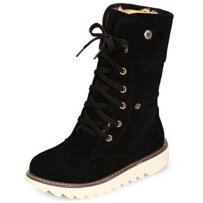 Female Thick Solid Color Flat Suede Skid-resistant Ankle Boots