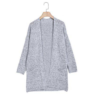 Collarless Long Sleeve Pocket Open Front Women Cardigan