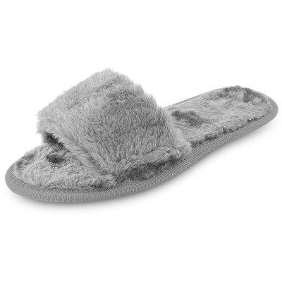 Female Winter Warm Flat Solid Color Noiseless Fur Slippers