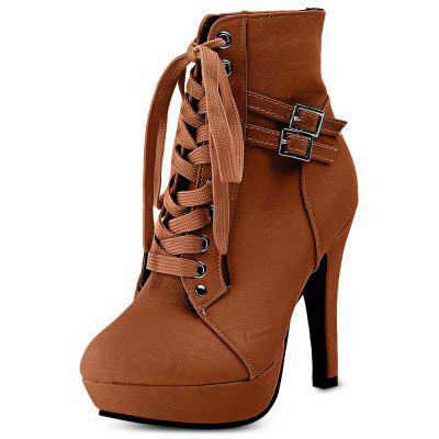 Female Winter Platform High-heeled Lace-up Combat Boots