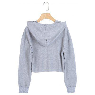 Ripped Distressed Batwing Sleeve Sweatshirt String Crop Hoodie drop shoulder ripped hooded crop sweatshirt