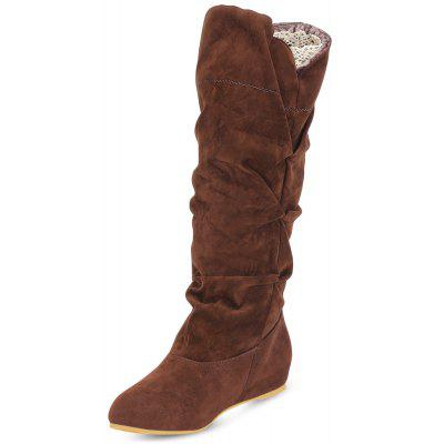 Female Winter Corrugated Suede Upper Flat Mid-calf Boots