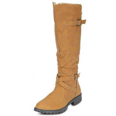 Buy KHAKI 38 Female Fashion All Match Leather Anti Skid Buckle Long Boots for $33.07 in GearBest store