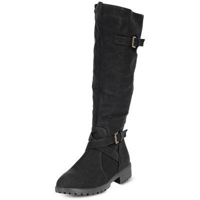Buy BLACK 36 Female Fashion All Match Leather Anti Skid Buckle Long Boots for $33.07 in GearBest store