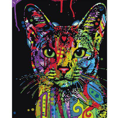 DIY Colorful Cat Painting Art Wall Home Decoration