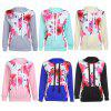 Hooded Long Sleeve Floral Print Pocket Women Hoodie - BLACK