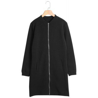 Stand Collar Long Sleeve Zipper Pocket Jacket Women Coat